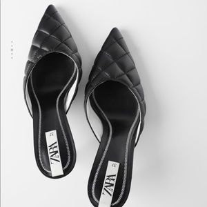 Zara quilted heeled mules, NWT